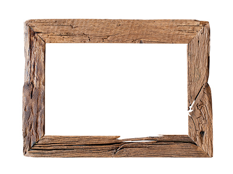 Rustic wood frame isolated on the white background with clipping path