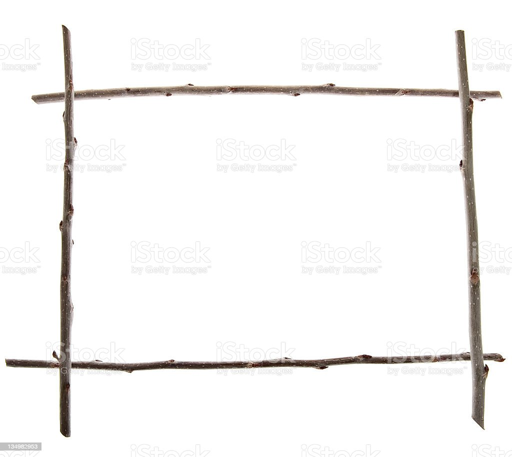 Wooden Frame, Twigs and Sticks royalty-free stock photo