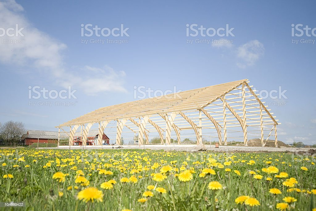 Wooden frame under construction stock photo