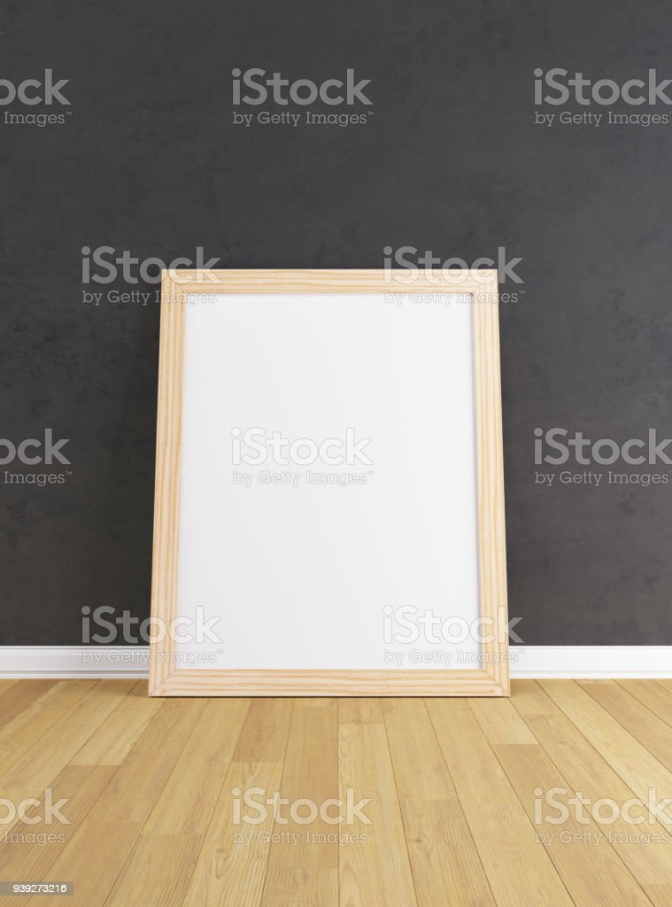 Wooden Frame With Poster Mockup Standing On The Wooden Floor Stock