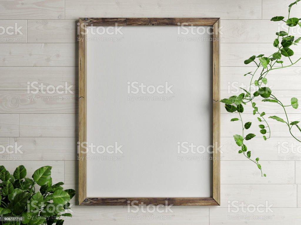 Kostenlose Holzrahmen mit Grünpflanze auf Holzwand – Foto