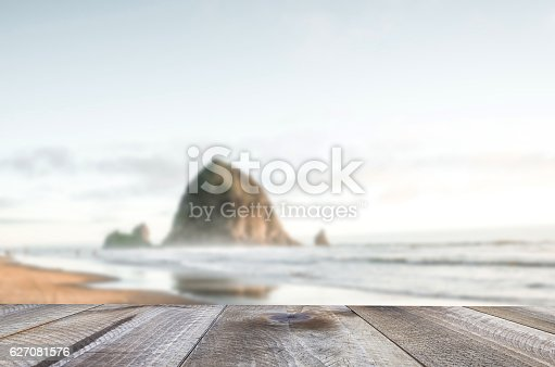 istock Wooden free space on table and sea landscape 627081576