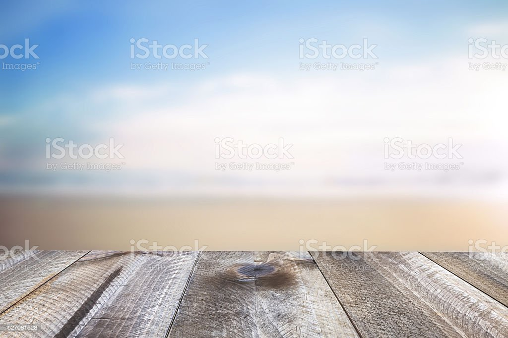 Wooden free space on table and summer sea landscape stock photo