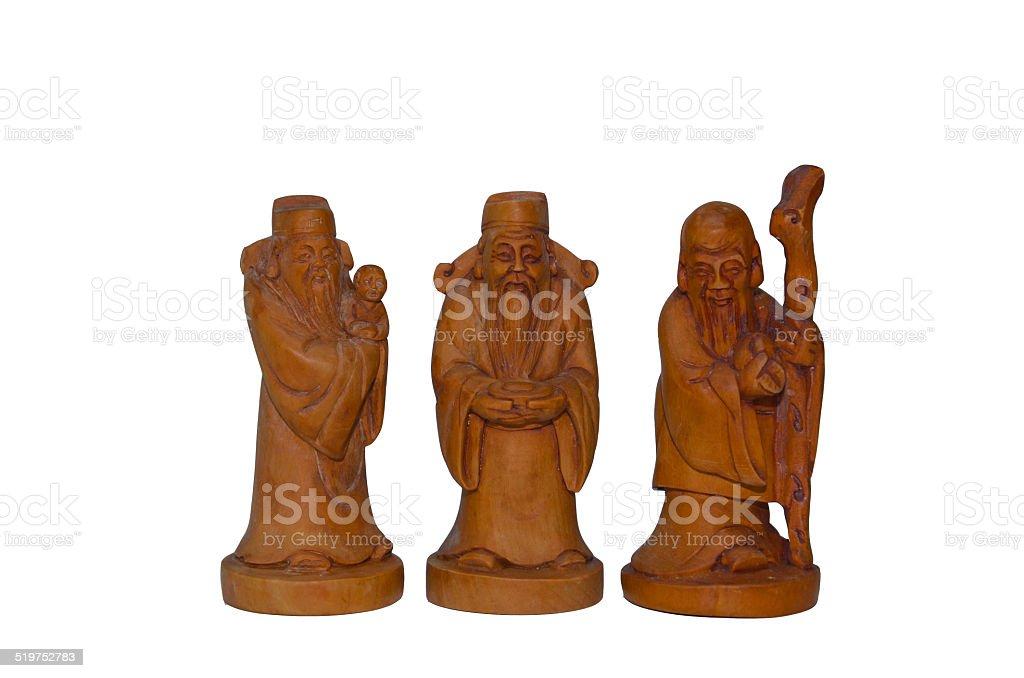 Wooden Fu Lu Shou statues stock photo