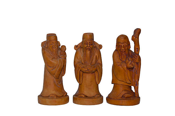 Wooden Fu Lu Shou statues stock photo
