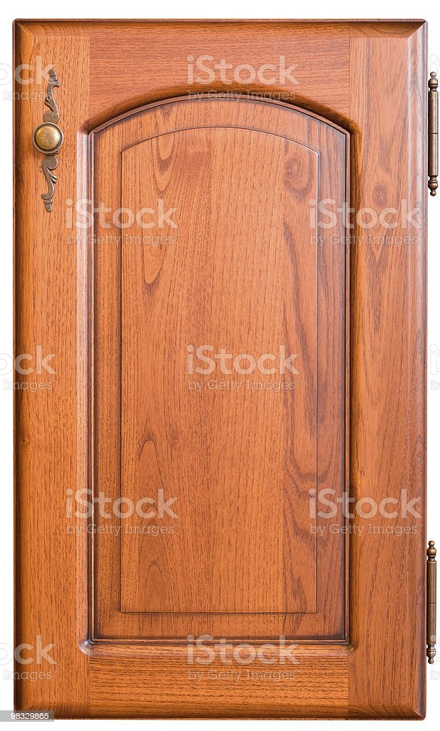 Wooden furniture door with handle royalty-free stock photo