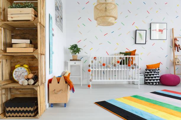 holzmöbel im kinderzimmer - fuchs kissen stock-fotos und bilder