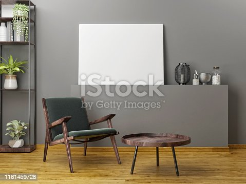 923497490 istock photo Wooden furniture with mock up poster 1161459728
