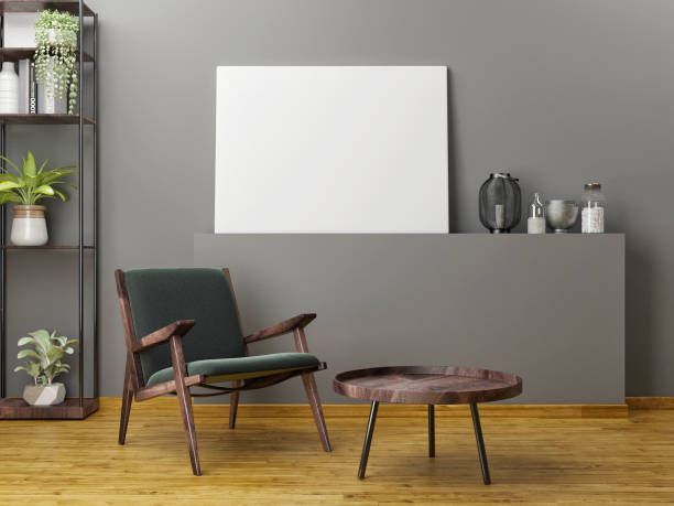 Holzmöbel mit Mock-up-Plakat – Foto