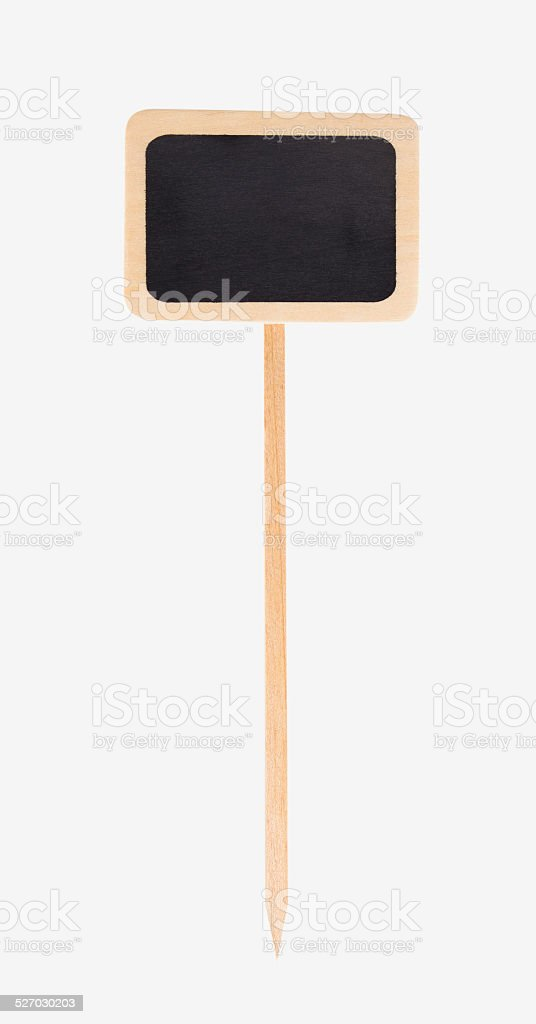 wooden garden sign with black chalkboard, isolated stock photo