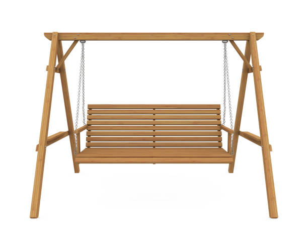 wooden garden swing seat isolated - altalena foto e immagini stock