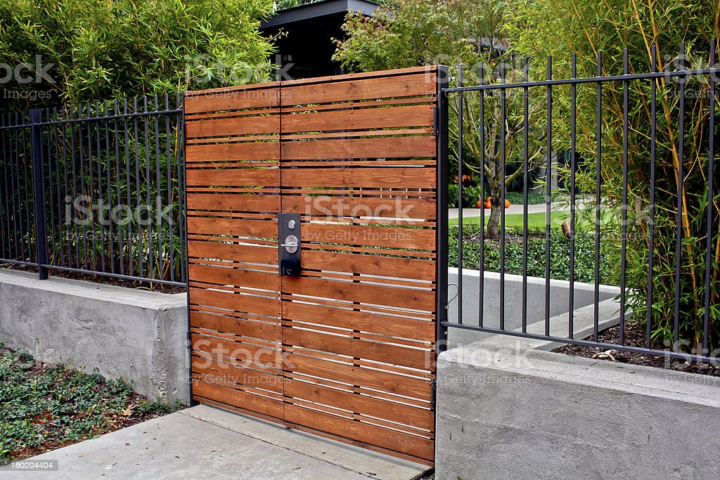 wooden gate stock photo