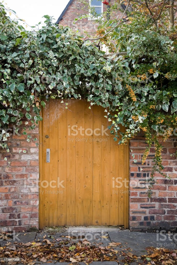 Wooden Gate Surrounded by Leaves-More in Lightboxes Below royalty-free stock photo