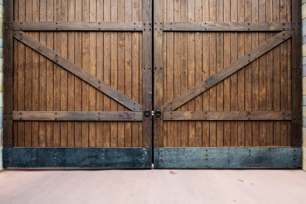 Wooden gate texture background stock photo