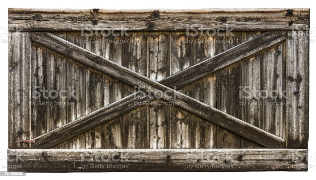 Wooden gate with cross from laths stock photo