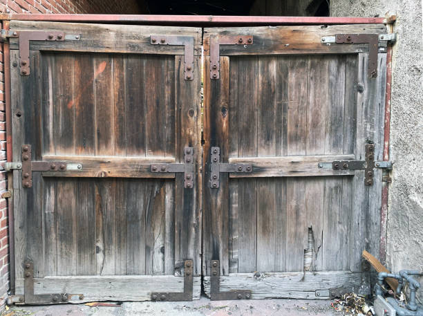 Wooden gates with heavy texture. stock photo