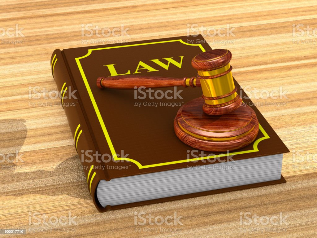 wooden gavel and book on white background. Isolated 3D illustration - Royalty-free Acordo Foto de stock