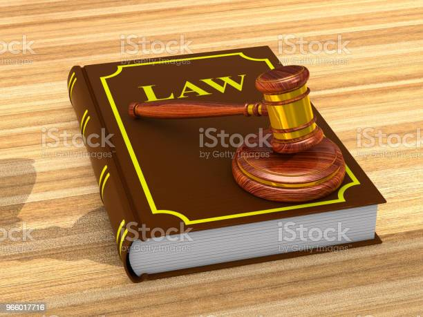 Wooden Gavel And Book On White Background Isolated 3d Illustration - Fotografias de stock e mais imagens de Acordo