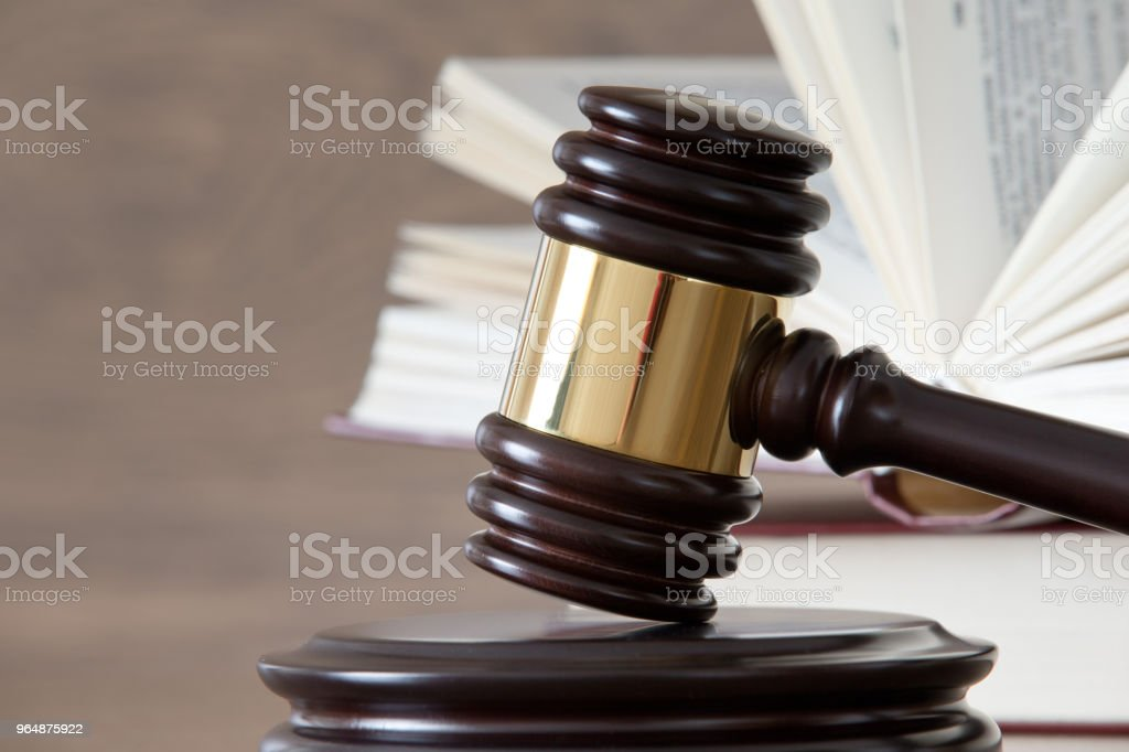 wooden gavel and books royalty-free stock photo