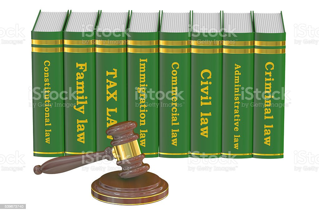 Wooden Gavel and Law Books, 3D rendering stock photo