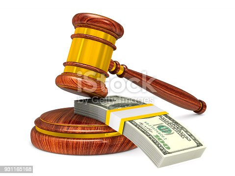 istock wooden gavel and money on white background. Isolated 3D illustration 931165168