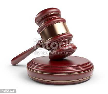 istock Wooden gavel. LAW concept. 3D Icon isolated 455285291
