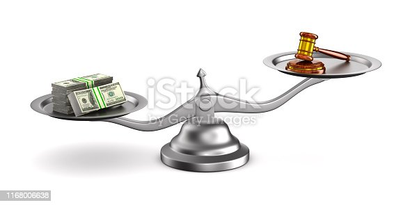istock wooden gavel, money and scale on white background. Isolated 3D illustration 1168006638