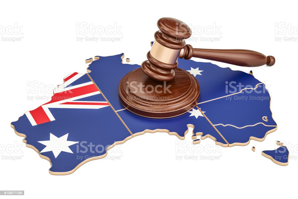 Wooden Gavel on map of Australia, 3D rendering isolated on white background stock photo