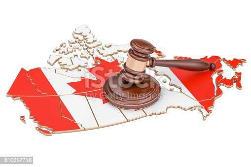 istock Wooden Gavel on map of Canada, 3D rendering isolated on white background 810297716
