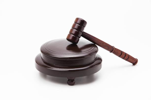 wooden gavel on white background - supreme court zdjęcia i obrazy z banku zdjęć