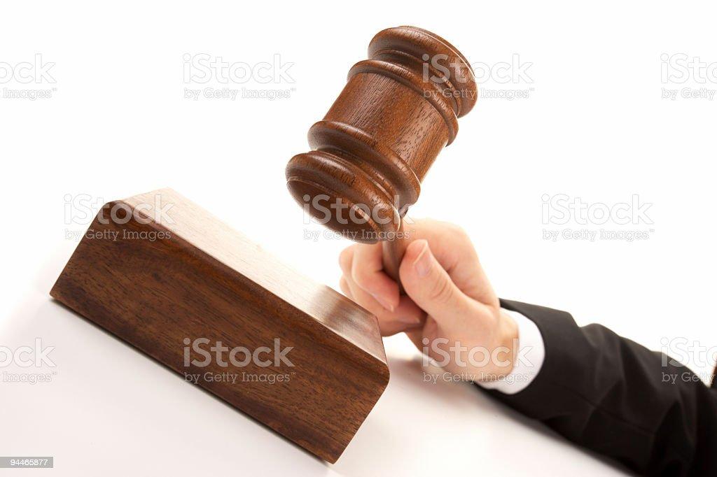 wooden gavel on white royalty-free stock photo