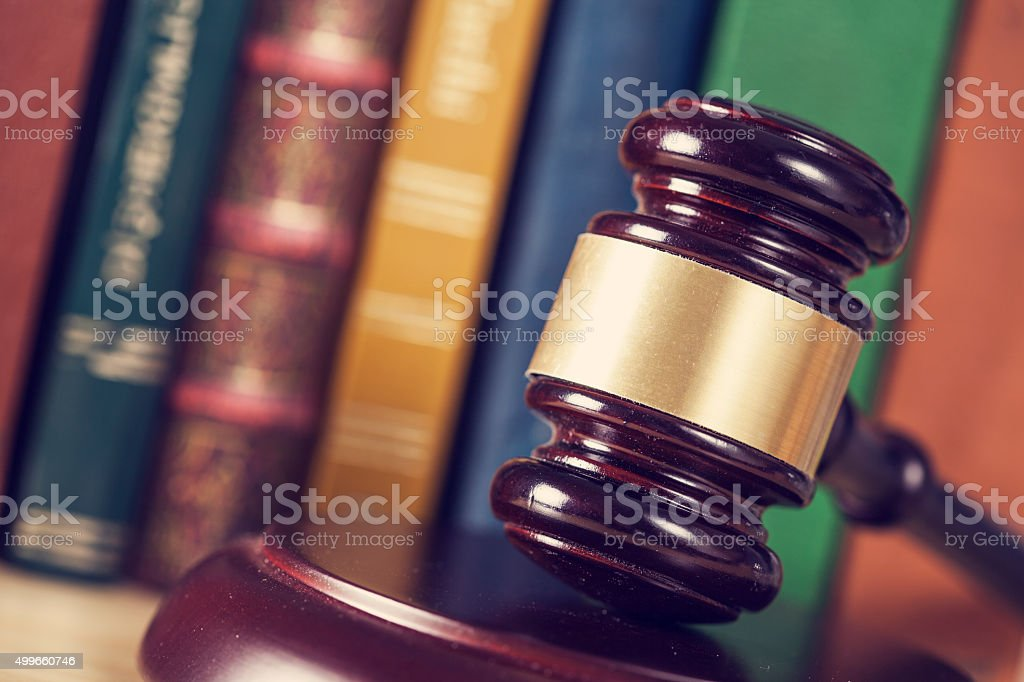 Wooden gavel stock photo