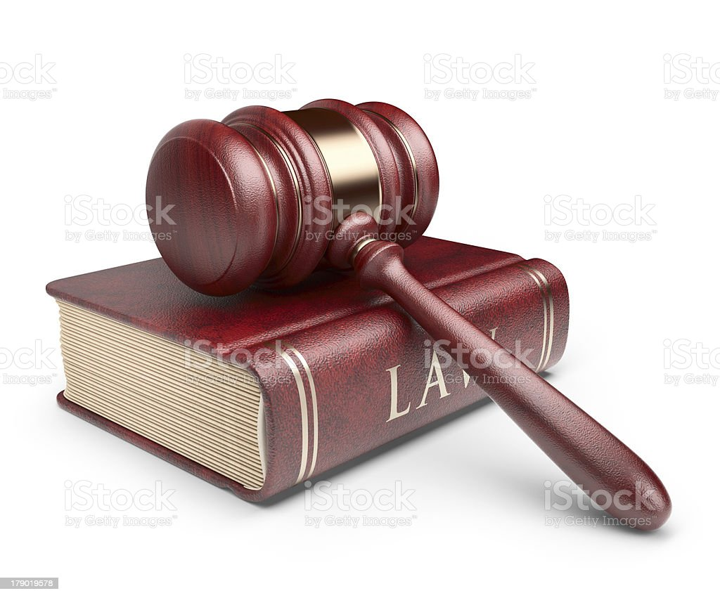 Wooden gavel with book. 3D Icon isolated stock photo
