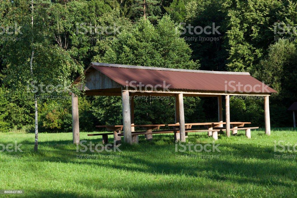 Wooden gazebo, close-up stock photo