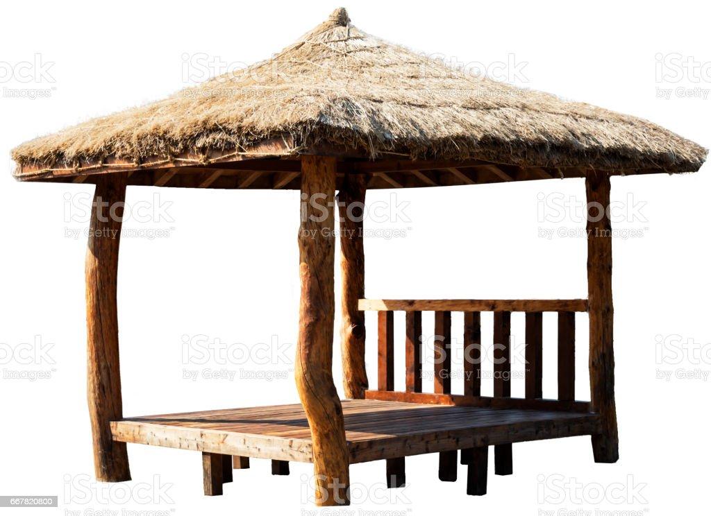 Cenador de madera aislada sobre fondo blanco - foto de stock