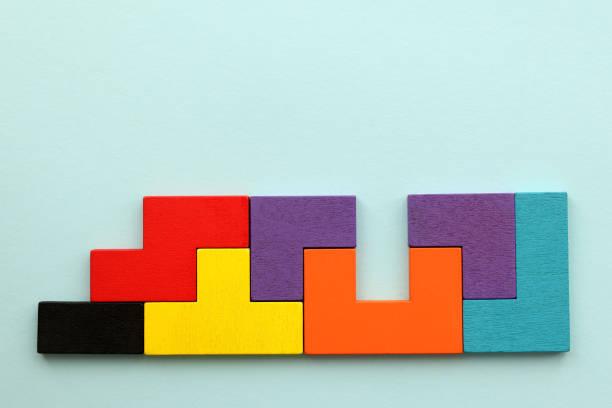 Wooden Geometric Shapes, Toy Blocks stock photo