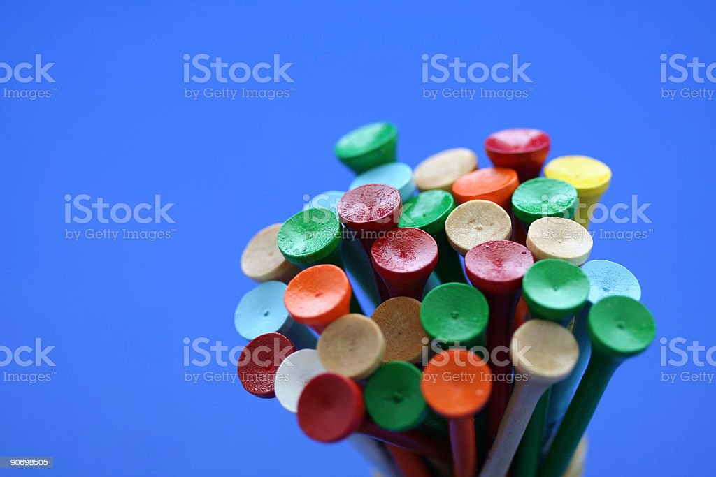 Wooden golf tees royalty-free stock photo