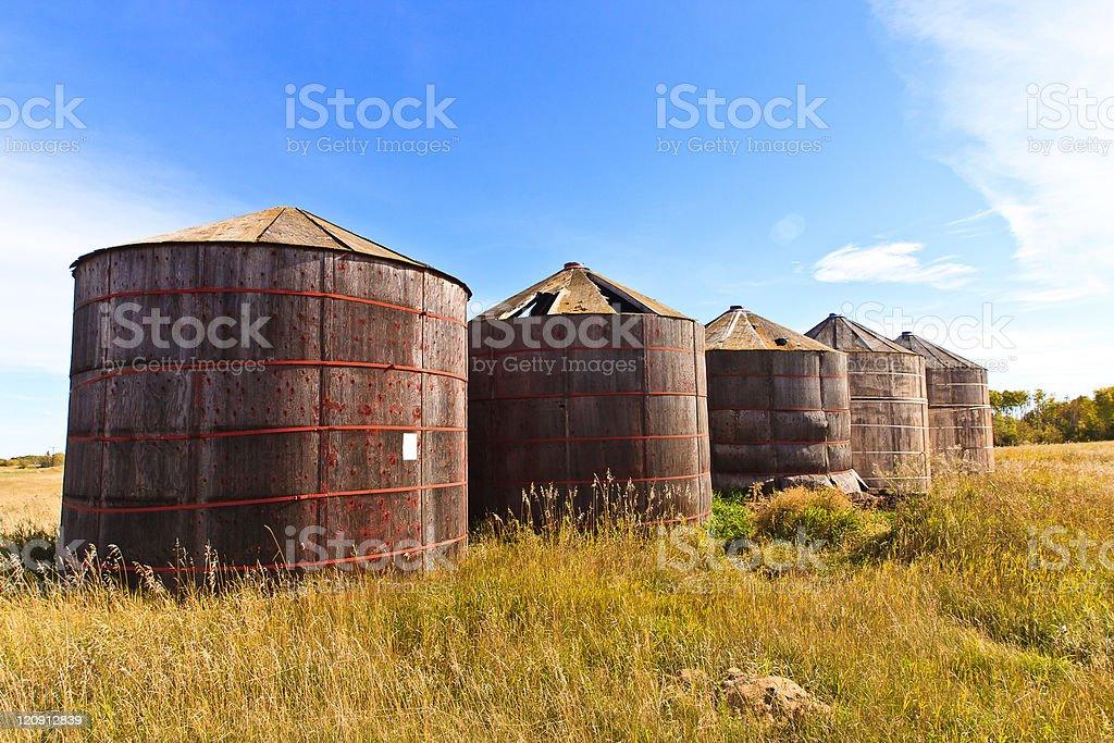 Wooden Grain Storage Bins royalty-free stock photo