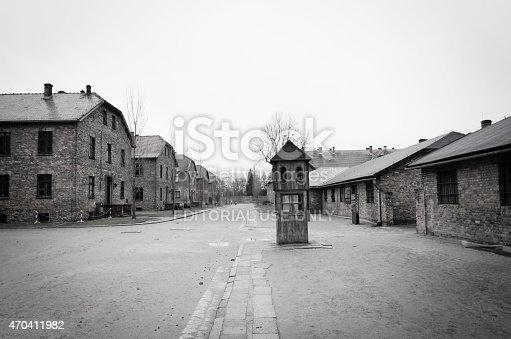 Oswiecim, Poland - April 3, 2015: Original brick barracks at the Auschwitz II / Birkenau concentration camp in Oswiecim, Poland.