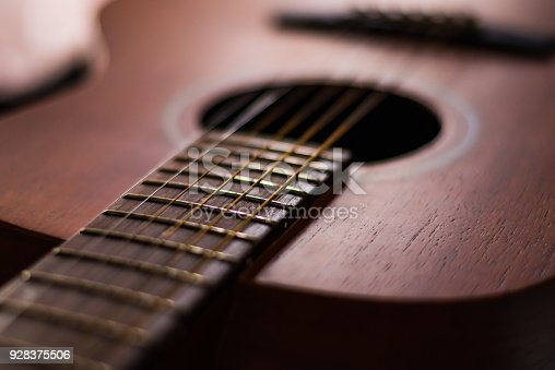 1014432572 istock photo Wooden guitar with lighting on the body to show texture of guitar 928375506