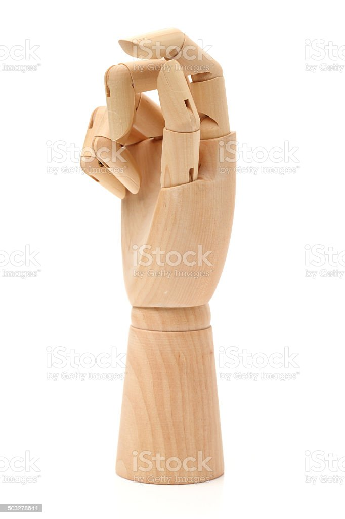 Wooden hand Artificial stock photo