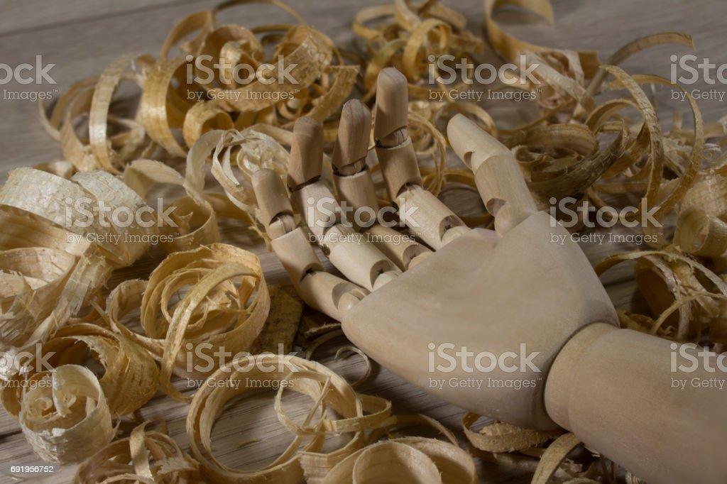 Wooden hand photo stock photo
