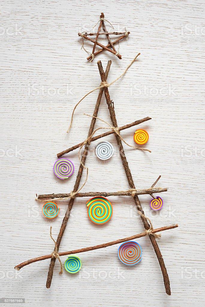 Wooden handmade Christmas tree. stock photo