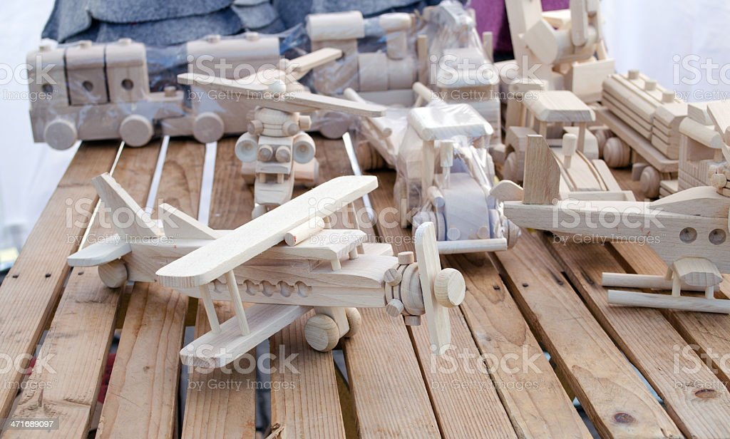 wooden handmade plane helicopter toy models store royalty-free stock photo