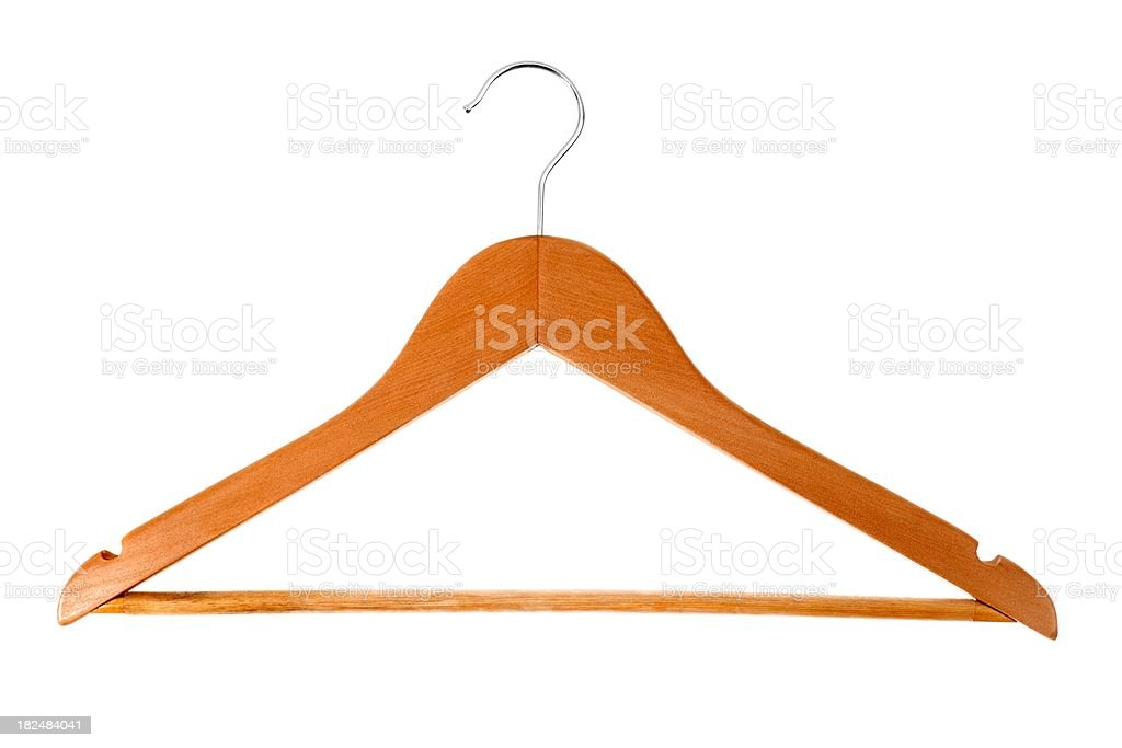 Wooden hanger set against a white background. stock photo