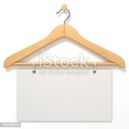 istock Wooden hanger with blank tag. 3D 528495040
