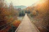 istock Wooden hanging rope bridge over mountain river 1323637759