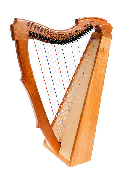 wooden harp on white background - harpist stock photos and pictures