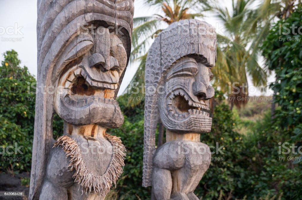 Wooden Hawaiian historical indigenous statues stock photo