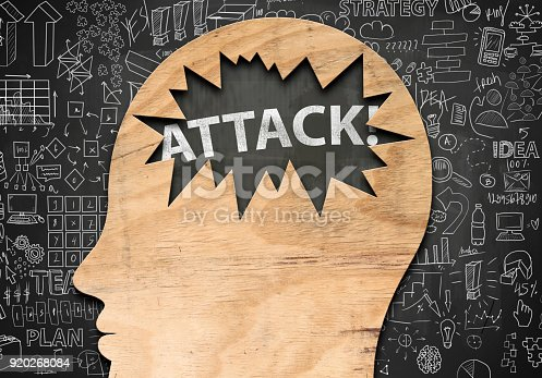 istock Wooden head and hole with text